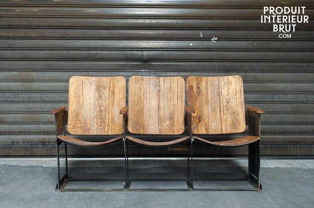 siege cinema en bois vintage. Black Bedroom Furniture Sets. Home Design Ideas