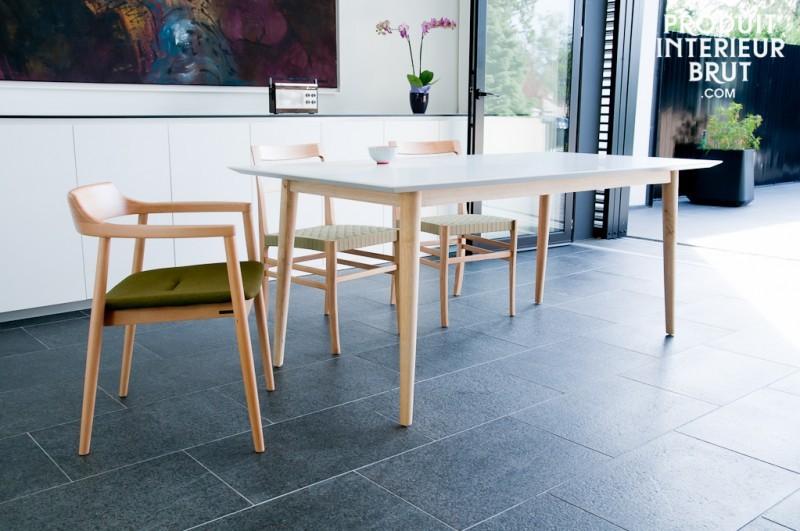 Table bois avec plateau blanc