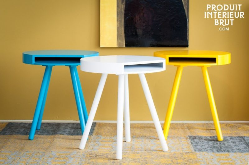 Table d'appoint turquoise, jaune ou blanche