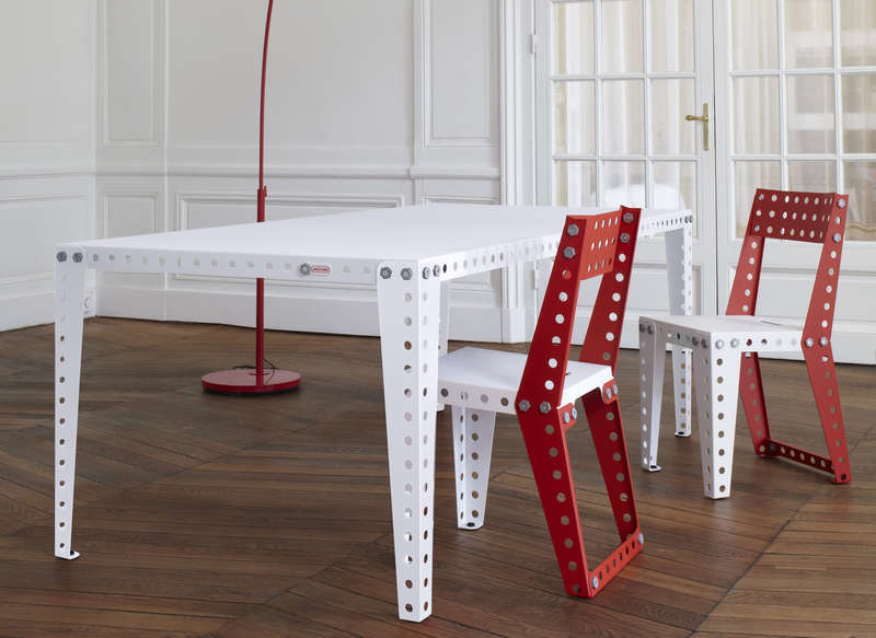 Table Meccano blanc