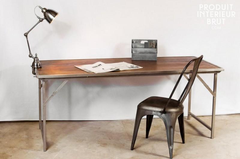 Table pliante en chêne et métal