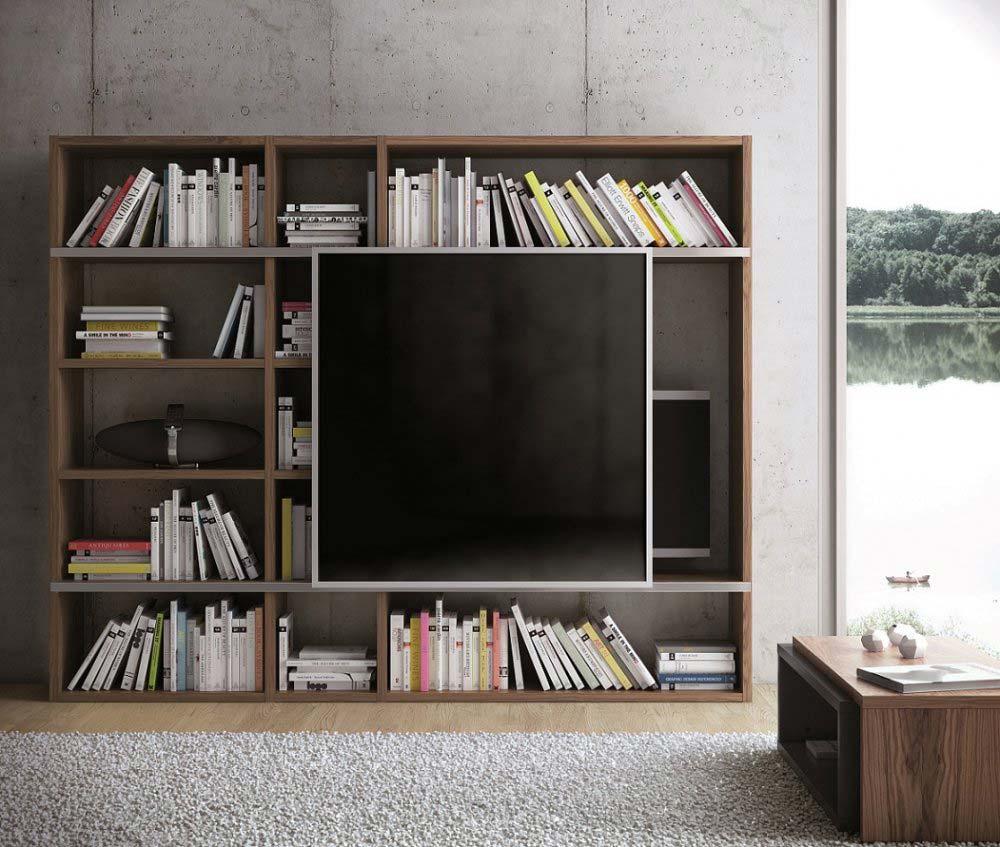 Bibliothèque meuble TV avec cache écran -> Meuble Tv Cachee