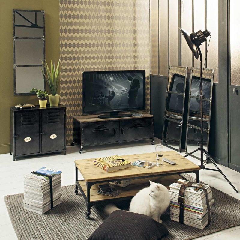 Meuble télé noir déco à roulettes