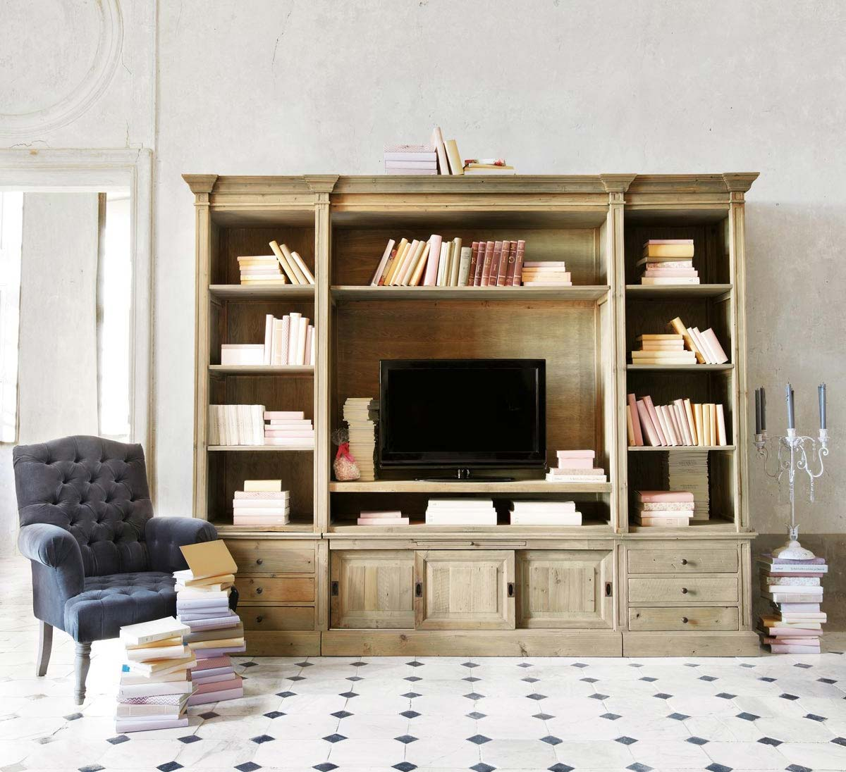 meuble tv bibliotheque en bois naturel. Black Bedroom Furniture Sets. Home Design Ideas