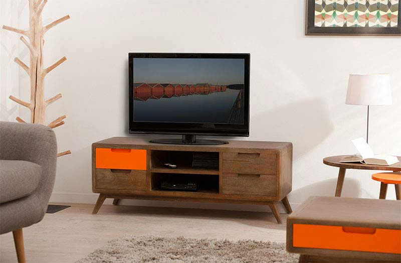 Meuble tv bois et orange for Meuble orange