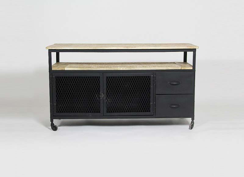 meuble tv caruso 4 tiroirs style industriel en bois et metal. Black Bedroom Furniture Sets. Home Design Ideas