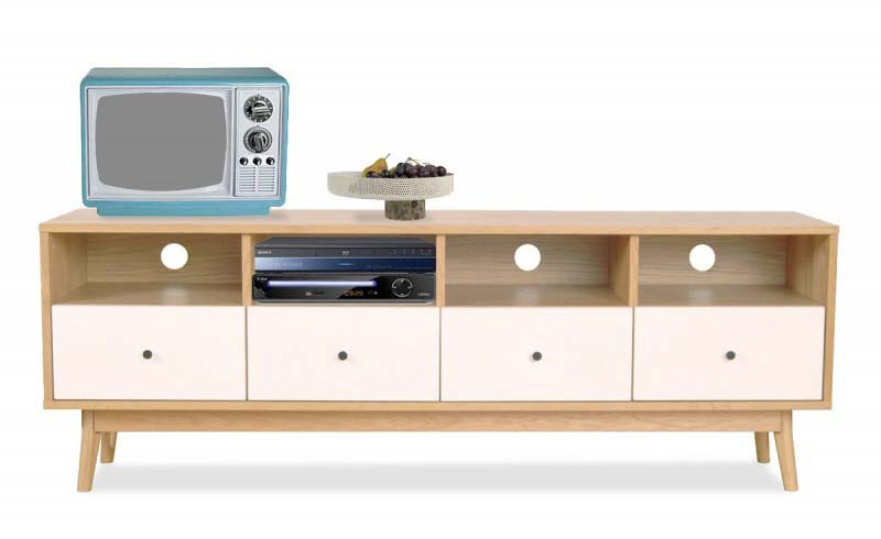 meuble tv scandinave bois et blanc. Black Bedroom Furniture Sets. Home Design Ideas