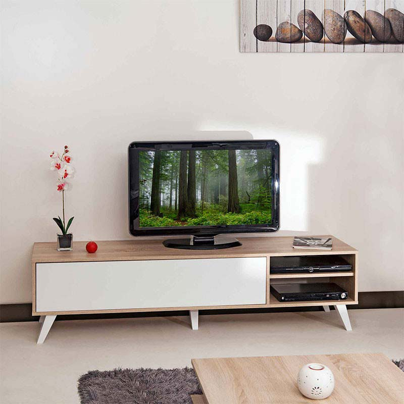 meuble tv scandinave moderne bois naturel et bois blanc. Black Bedroom Furniture Sets. Home Design Ideas