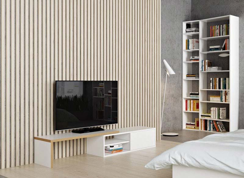 meuble banc tv bois et blanc. Black Bedroom Furniture Sets. Home Design Ideas