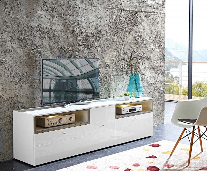 Commode tv design de coloris blanc for Meuble commode design
