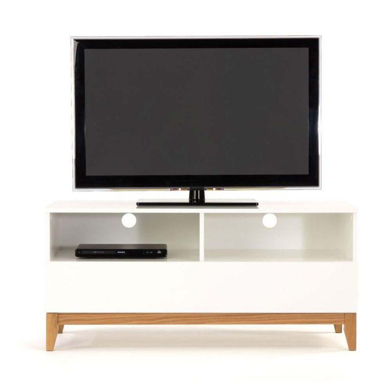 Meuble TV bois blanc et bois brut