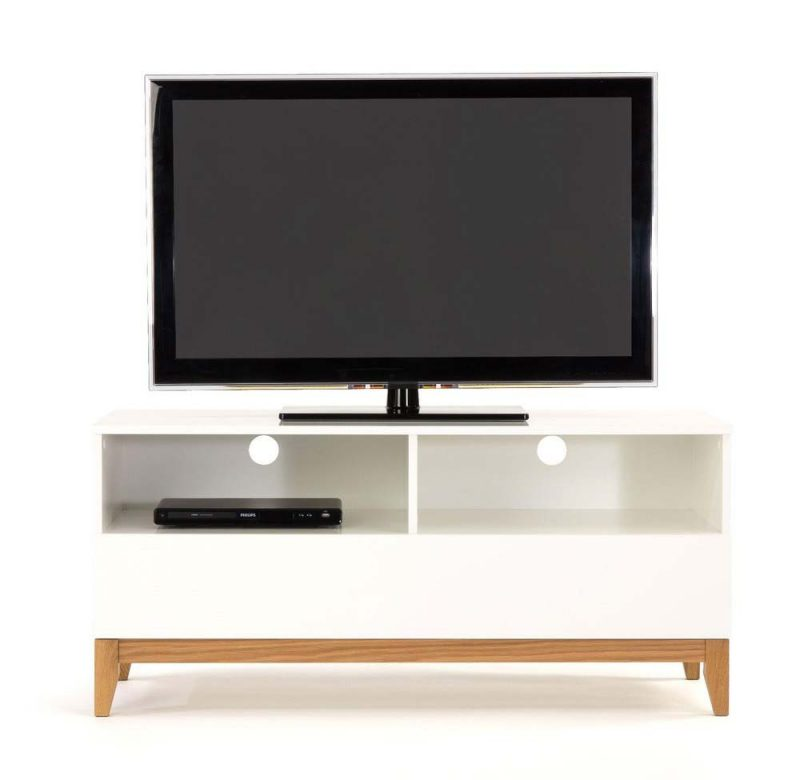 Awesome meuble tv bois blanc et bois brut with meuble tv for Meuble tv arrondi