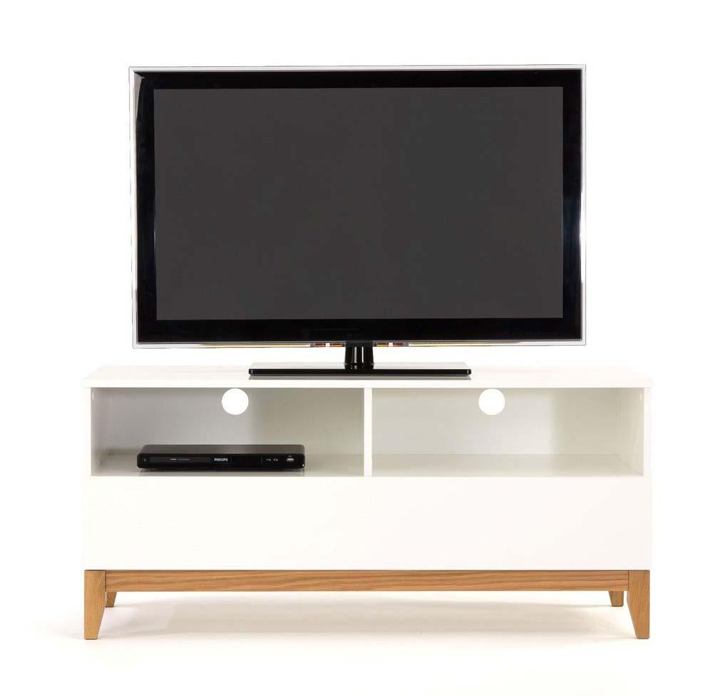 Meuble tv bois blanc et bois brut for Meuble tv verre et bois
