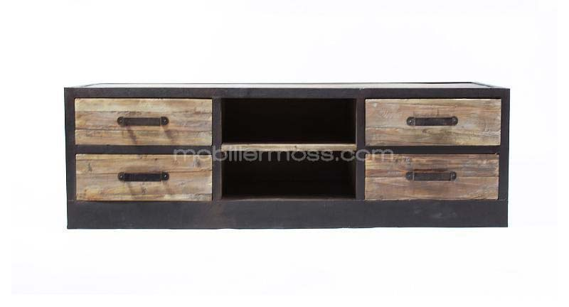 meuble tv en bois et m tal style industriel. Black Bedroom Furniture Sets. Home Design Ideas