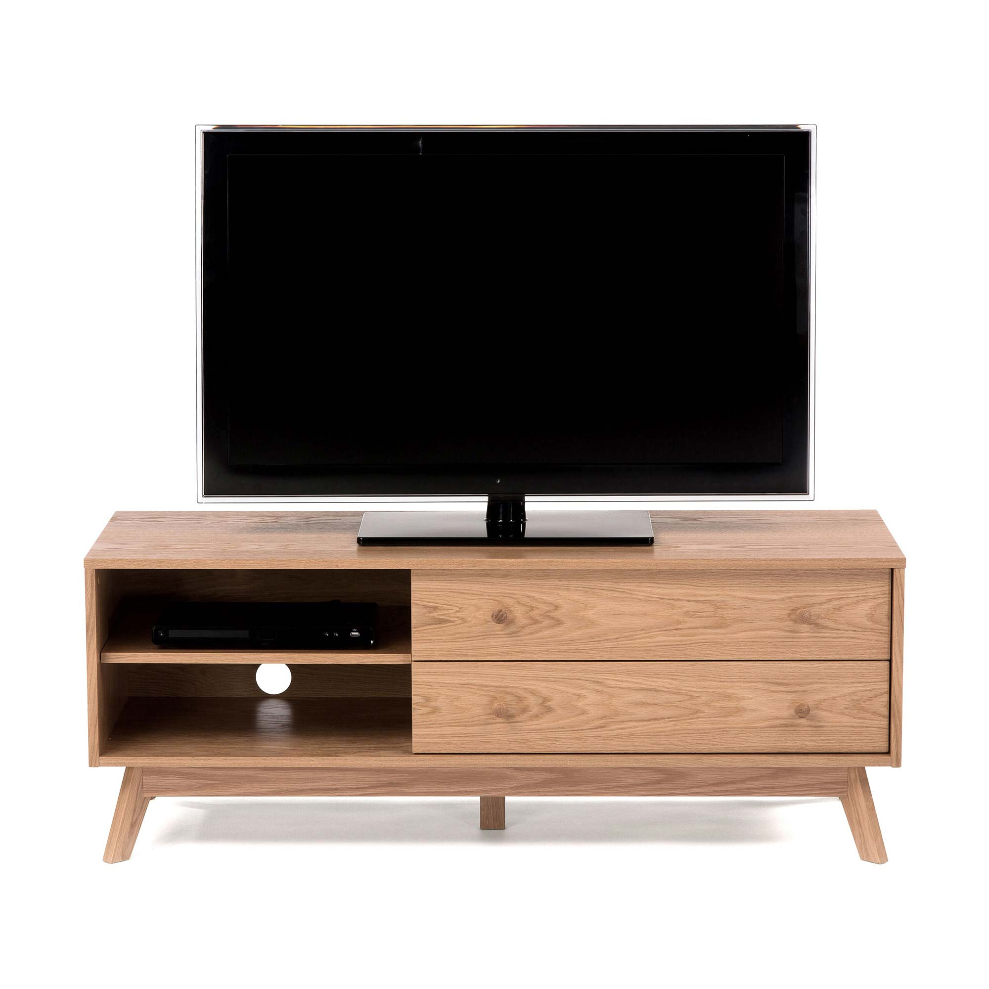 meuble tv en ch ne avec tiroirs. Black Bedroom Furniture Sets. Home Design Ideas