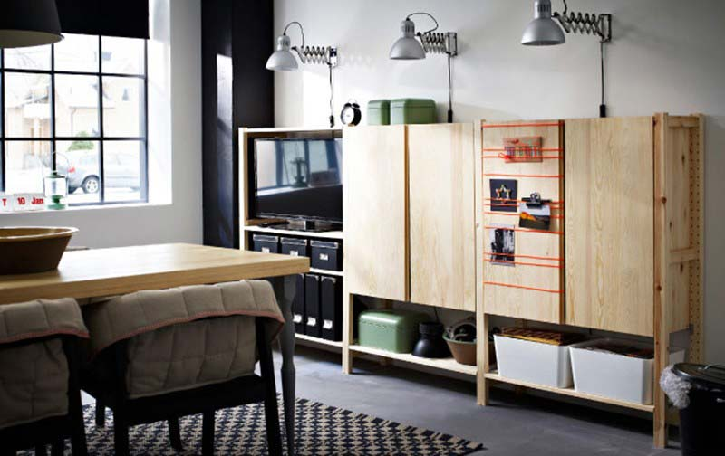 Meuble TV Ikea bois brut