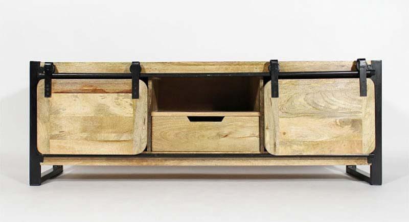 Meuble TV industriel en bois avec portes coulissantes