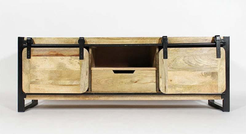 Meuble tv industriel en bois avec portes coulissantes for Meuble tv avec porte