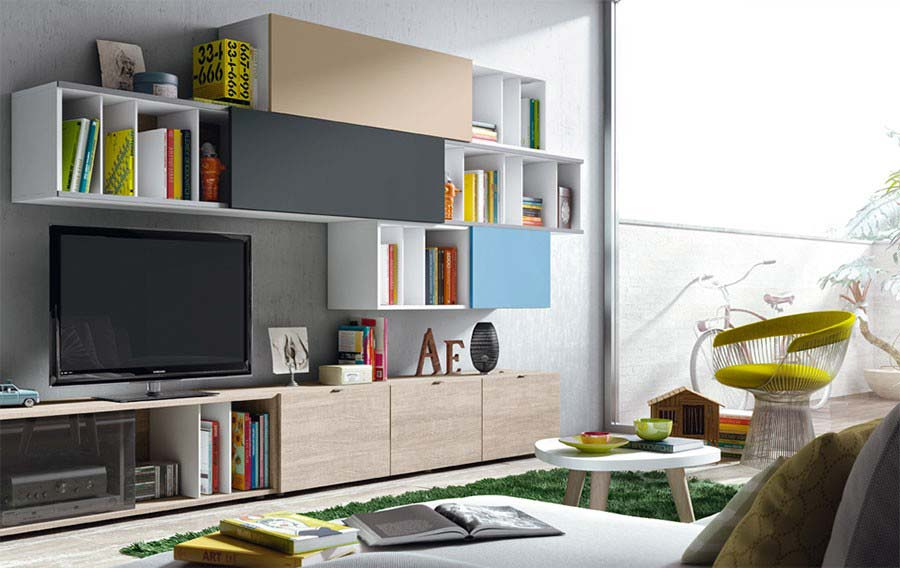 meuble tv mural avec rangements ferm s. Black Bedroom Furniture Sets. Home Design Ideas