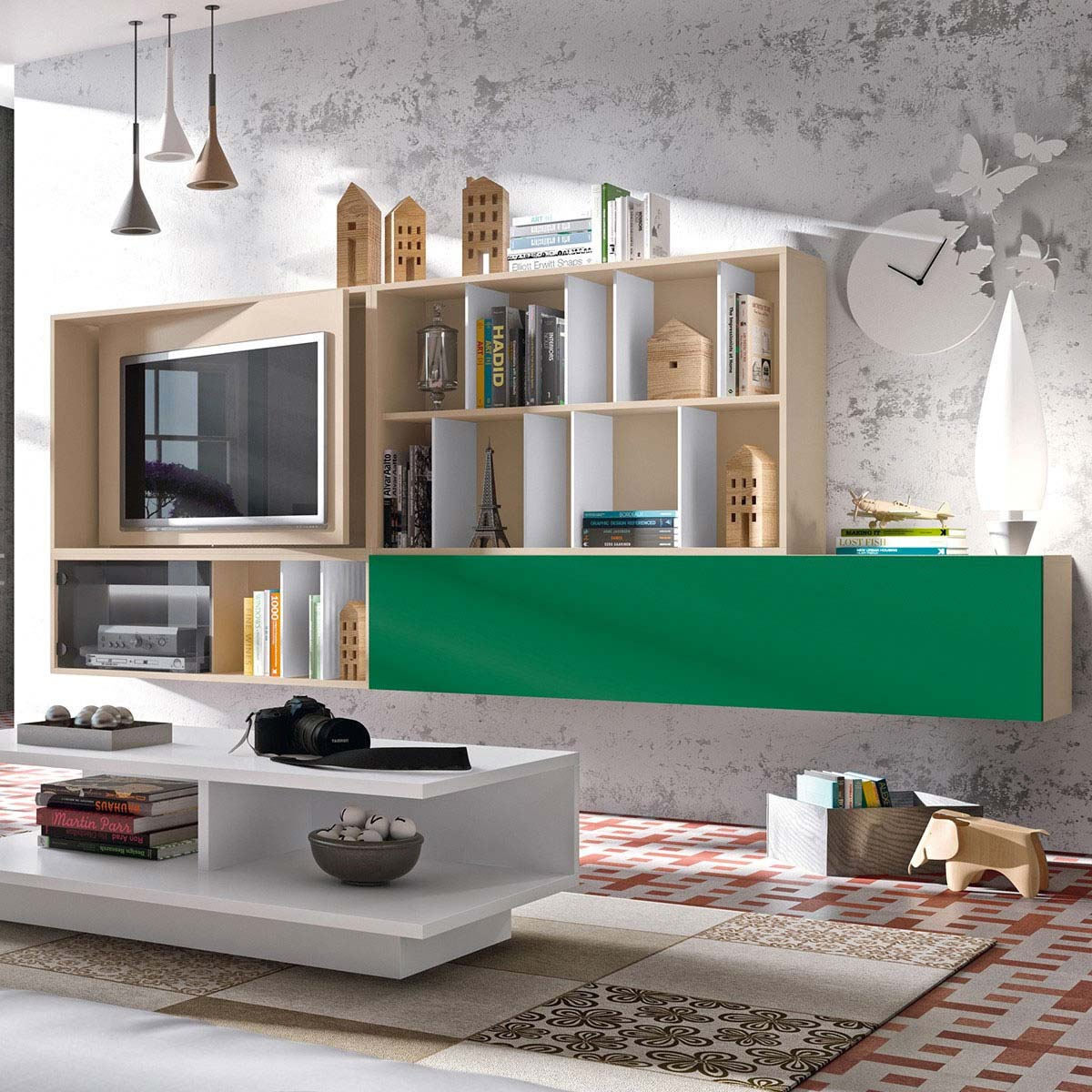 Meuble tv mural avec panneau pivotant for Designer meuble bois
