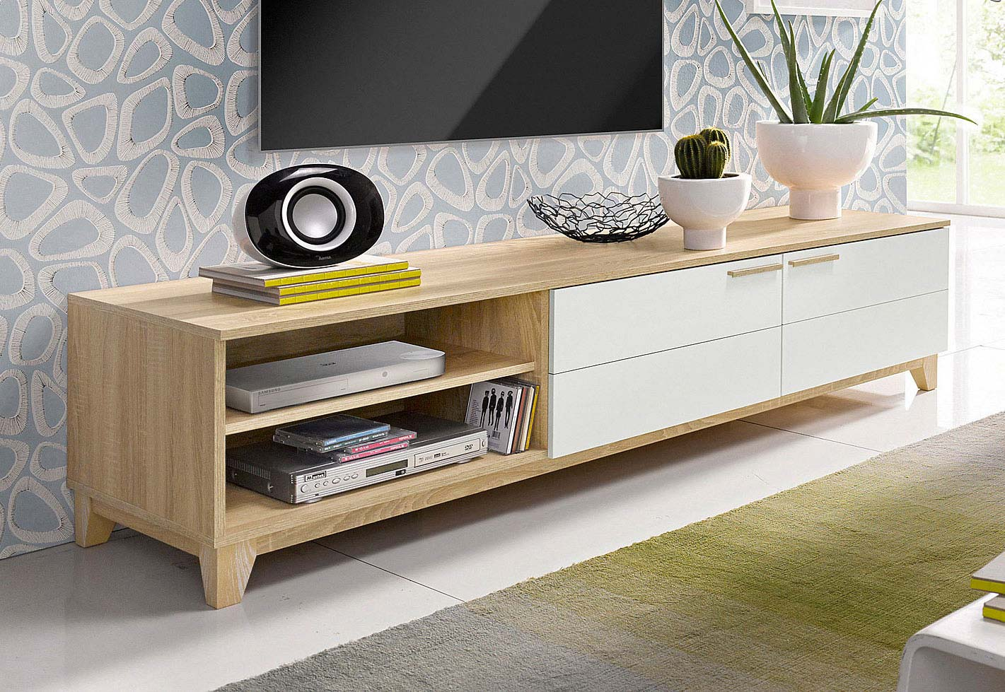 Meuble tv scandinave moderne for Meuble blanc bois
