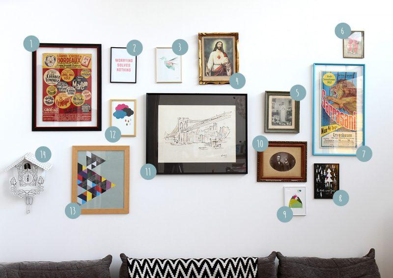 Mur rempli de tableaux