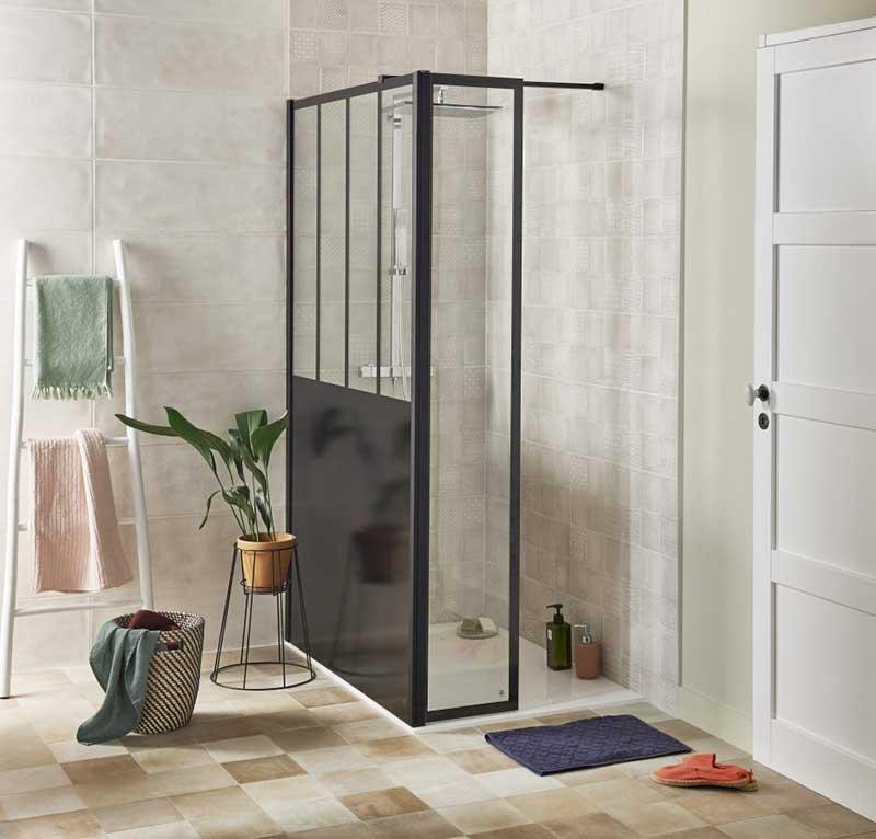 Paroi de douche style verrière d'atelier