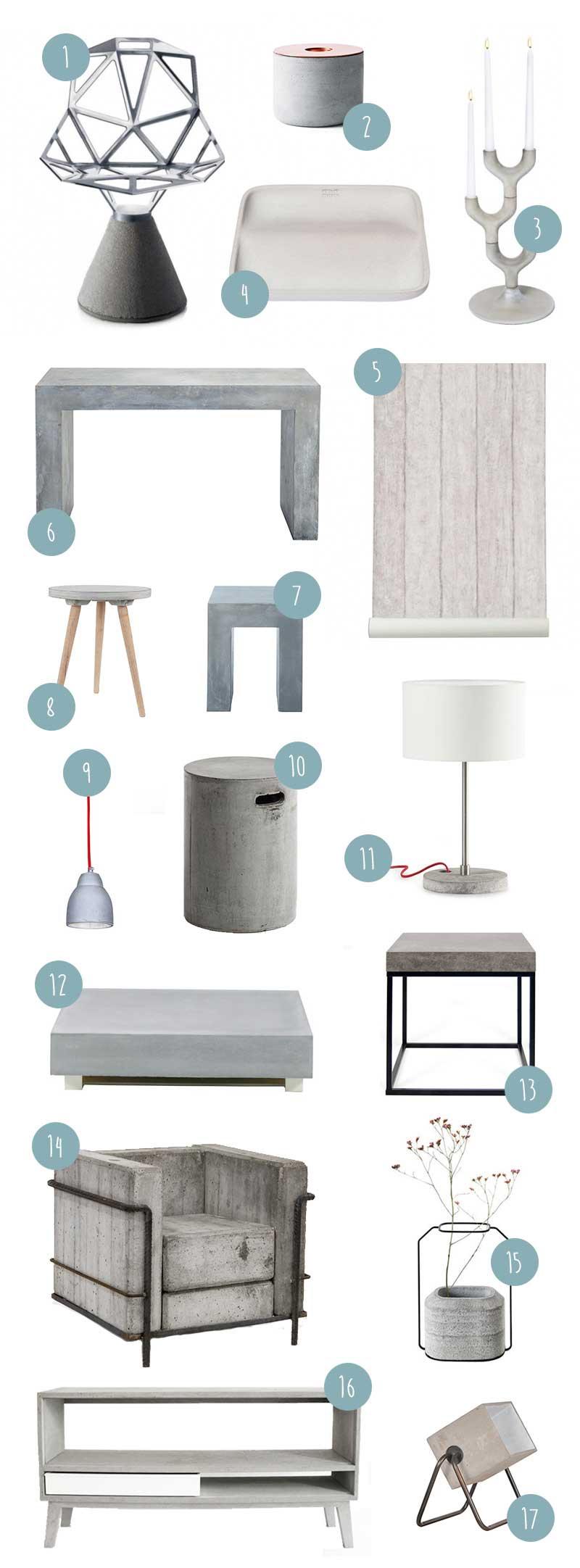 Idées mobilier et objets déco en béton