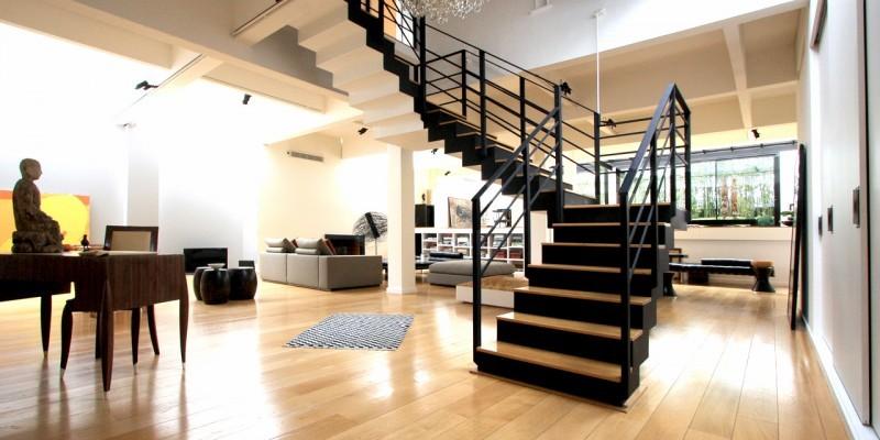 Escalier double quart de tour noir