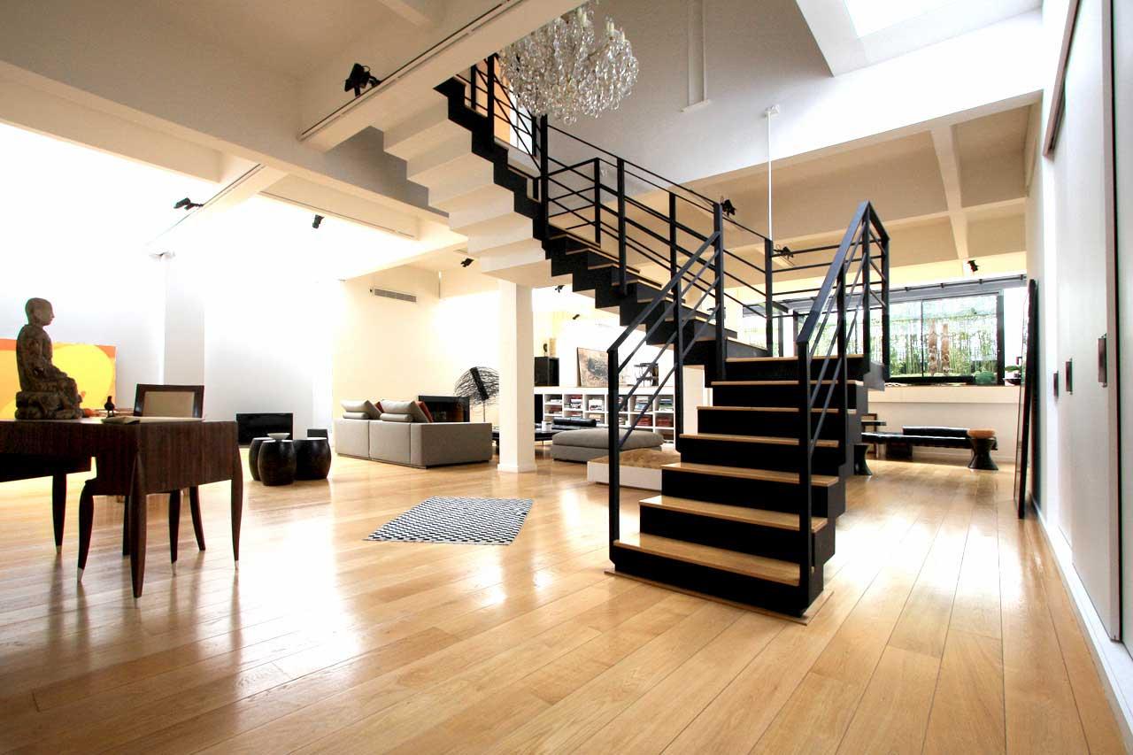 Escalier double quart de tour noir - Escalier quart de tour ...