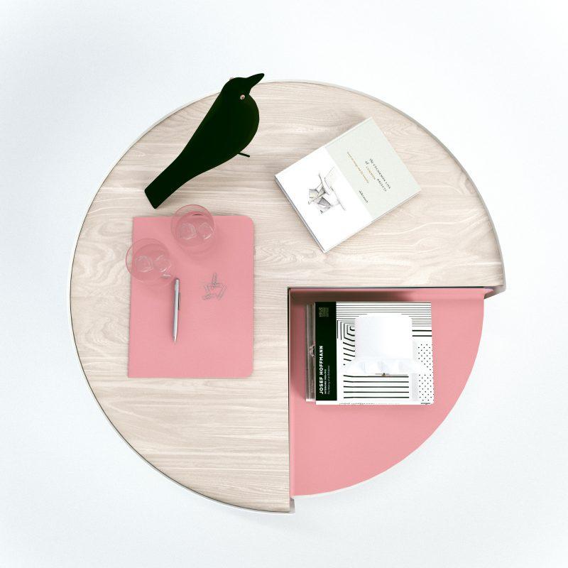 Table basse avec plateau tournant