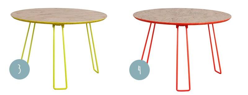 Table jaune fluo et orange fluo