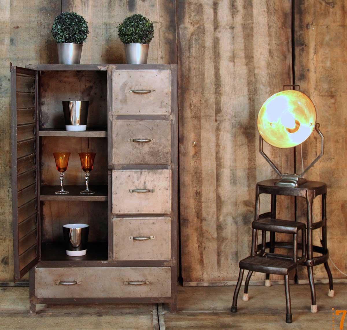 meuble de rangement esprit industriel. Black Bedroom Furniture Sets. Home Design Ideas
