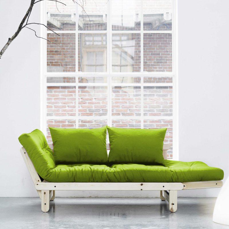Canapé convertible lit en bois naturel