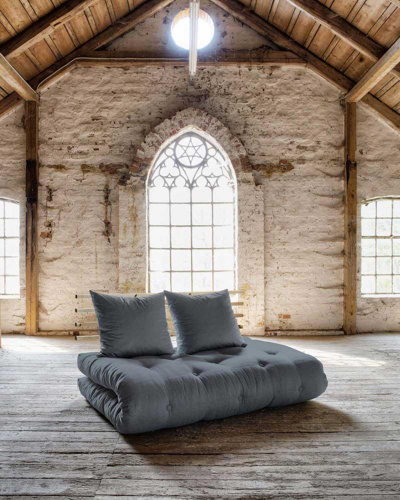 Canapé convertible futon gris