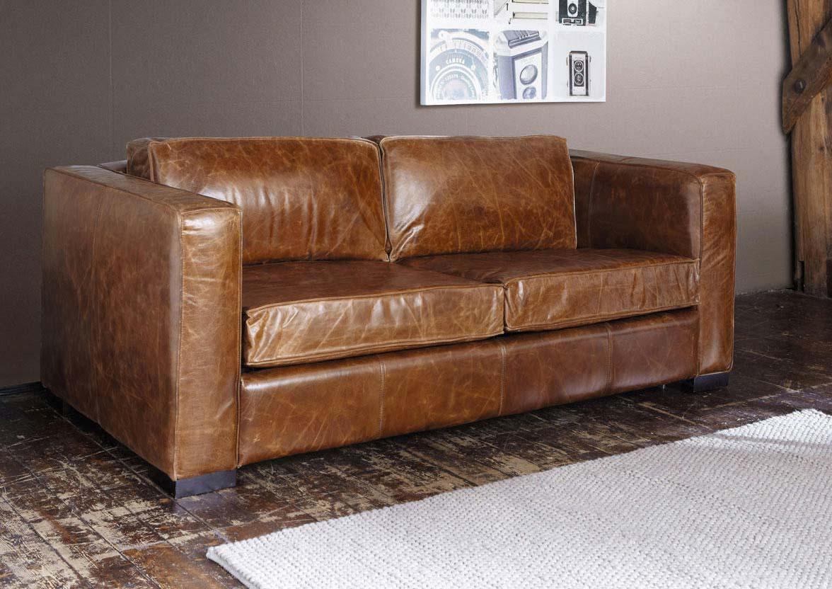 canap lit en cuir marron chez maisons du monde. Black Bedroom Furniture Sets. Home Design Ideas
