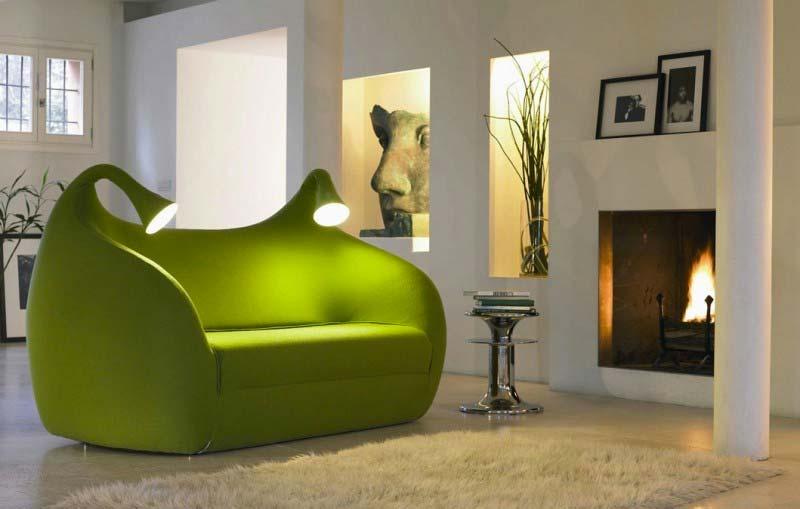 Canapé lit vert avec lampes intégrées