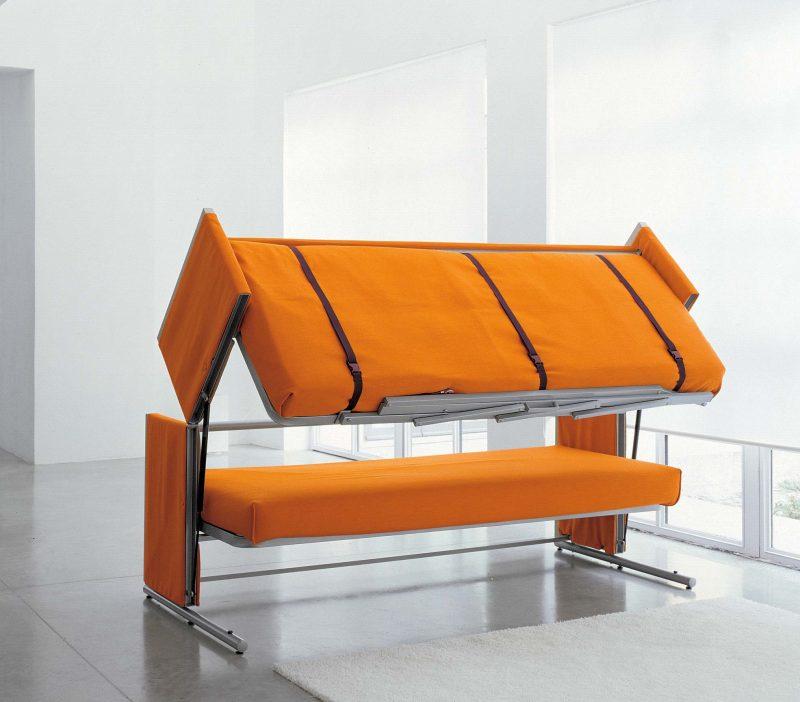 Canapé clic-clac orange