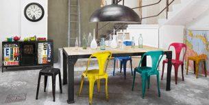 Chaise industrielle idées déco en métal et bois