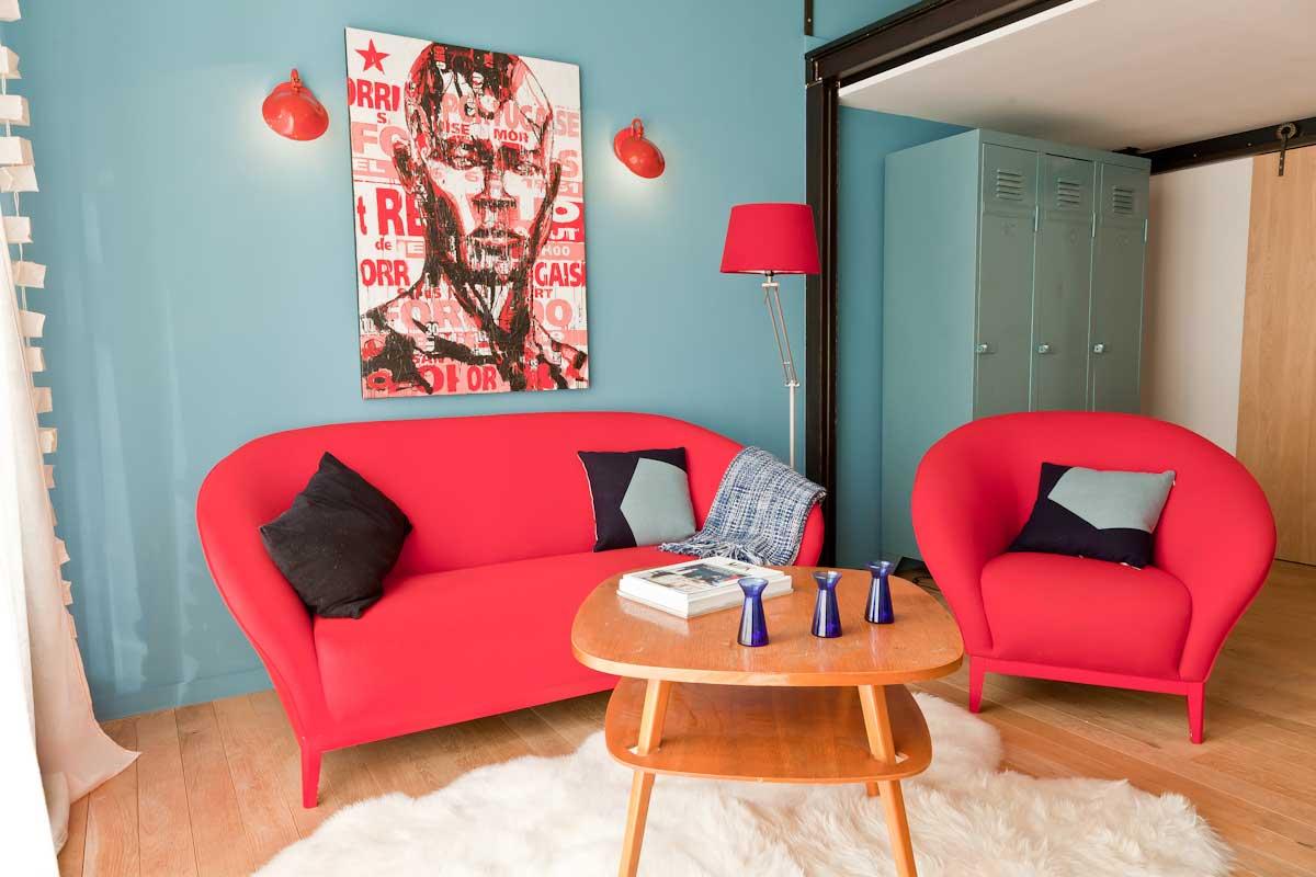 d co scandinave avec canap rouge. Black Bedroom Furniture Sets. Home Design Ideas