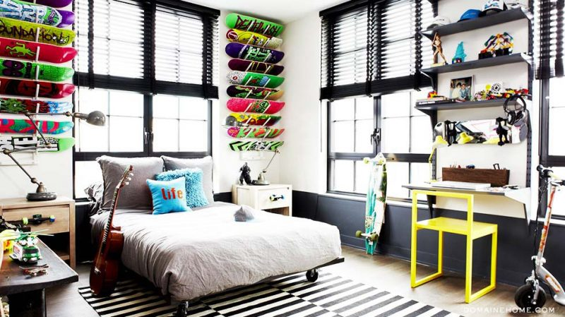 43 id es d co avec des planches de skateboard. Black Bedroom Furniture Sets. Home Design Ideas