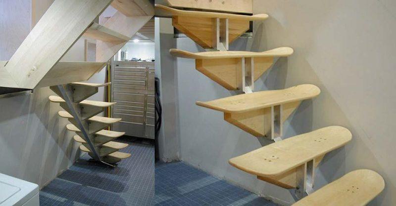43 idées déco avec des planches de skateboard escalier planche de skateboard