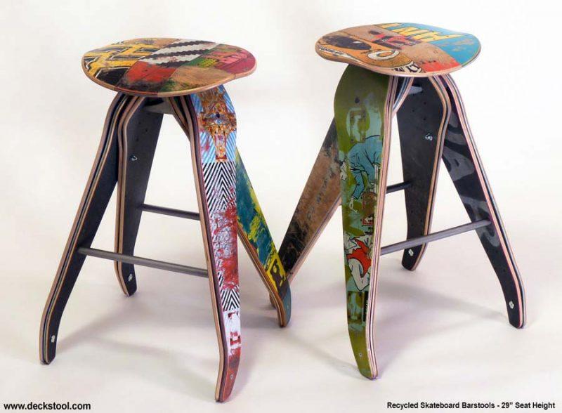 Tabouret planche de skate recyclée