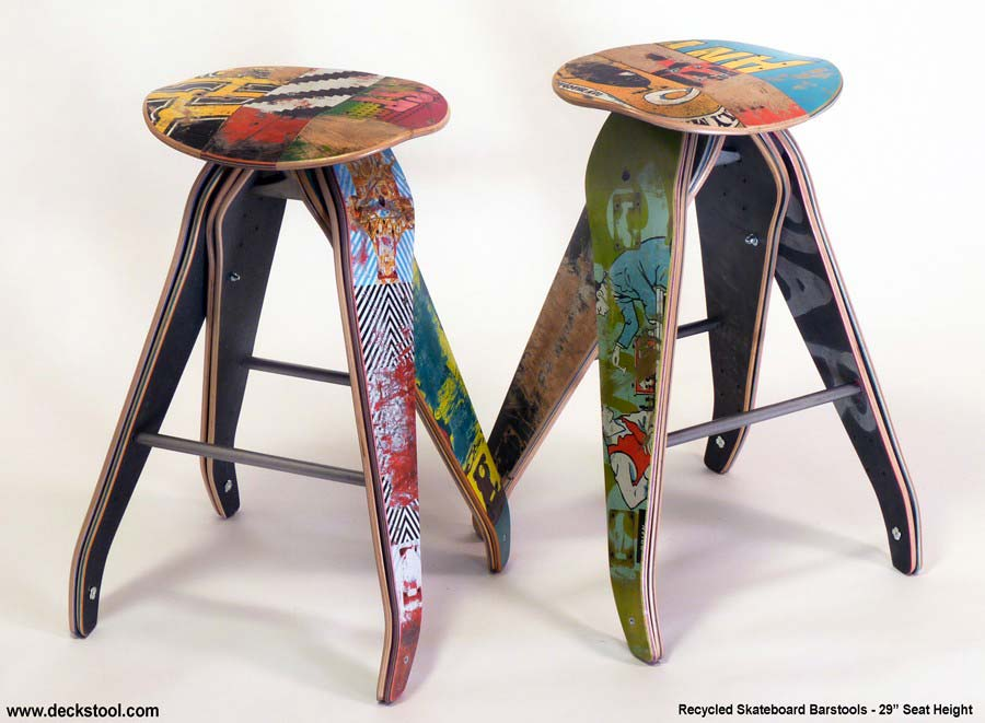 tabouret planche de skate recycl e. Black Bedroom Furniture Sets. Home Design Ideas