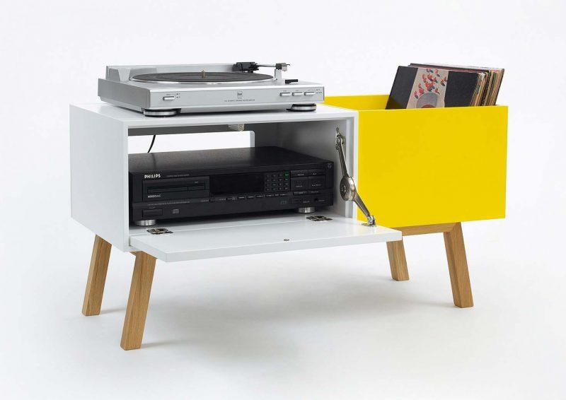 Buffet pour ranger platine et vinyles par Cubit
