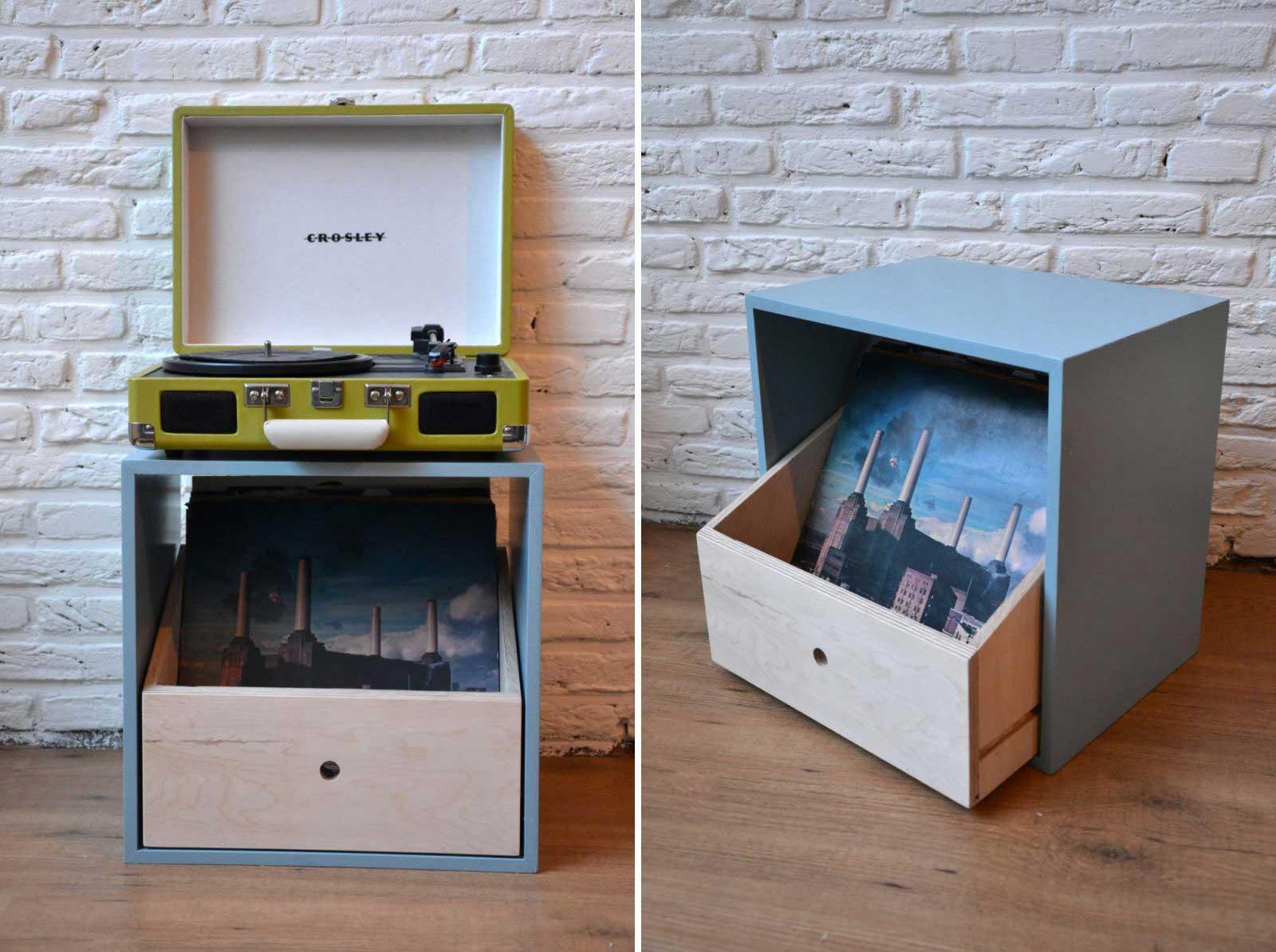 cube en mdf pour ranger des disques. Black Bedroom Furniture Sets. Home Design Ideas