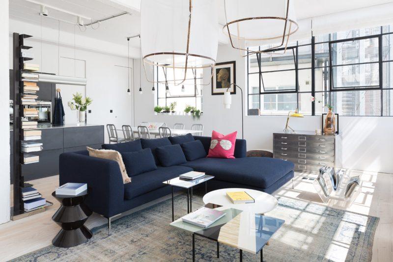loft lumineux - Deco Salon Avec Canape Bleu