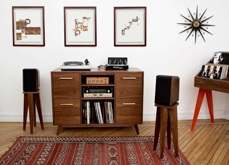 meuble hi fi vinyle ouvert vintage. Black Bedroom Furniture Sets. Home Design Ideas