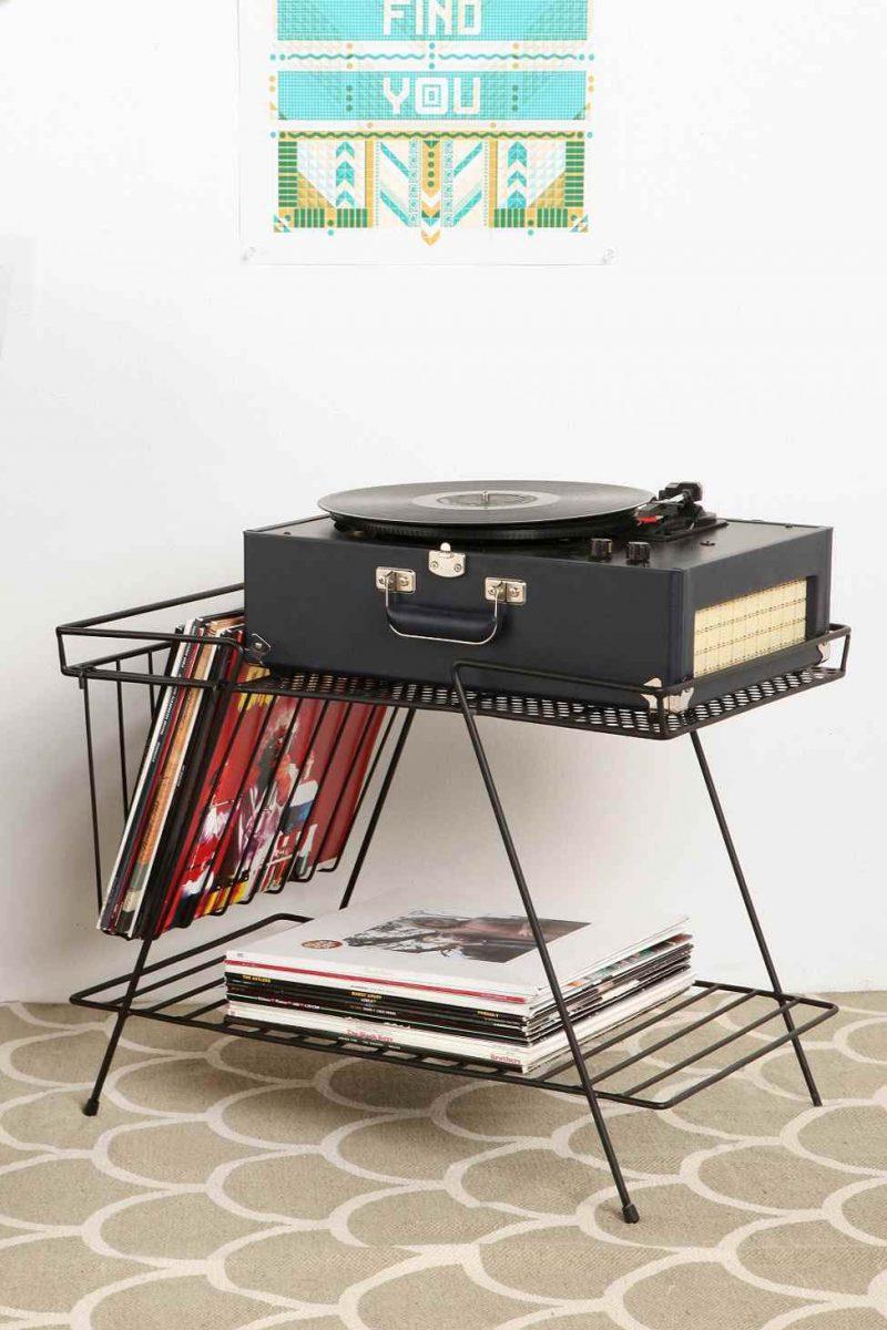 Meuble range vinyles noir
