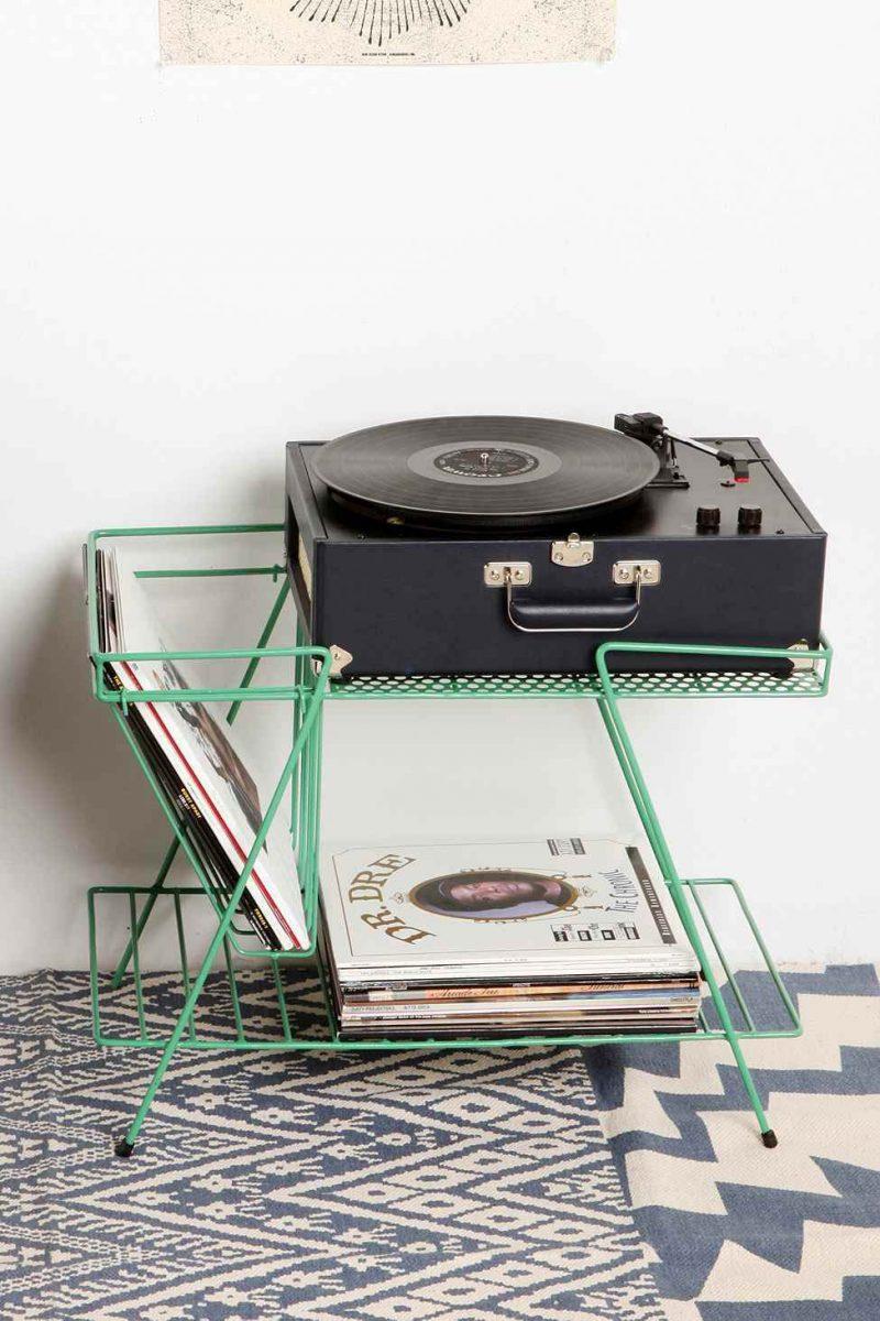 Meuble range vinyles vert